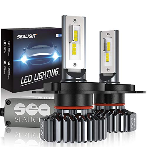H4/9003/HB2 LED Headlight Bulbs Hi/Lo Beam Conversion Kit, SEALIGHT S1 series Super Bright 24xCSP chips LED Automotive Headlamp-6000K Xenon White (2 Pack) ()