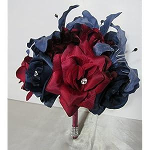 Burgundy Navy Blue Rhinestone Rose Tiger Lily Bridal Wedding Bouquet & Boutonniere 115