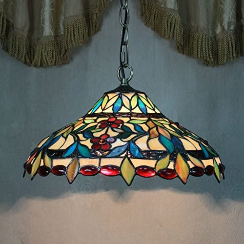 14-inch Vintage Gorgeous Flower Stained Glass Tiffany Ceiling Lamp Pendant Lamp Living Room Light Hallway Lamp