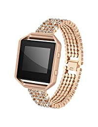 For Fitbit Blaze Bands with Frame, AISPORTS Fitbit Blaze Stainless Steel Rhinestone Smart Watch Bands Adjustable Replacement Band Bracelet Wrist Band for Fitbit Blaze Fitness Accessories, Rose Gold
