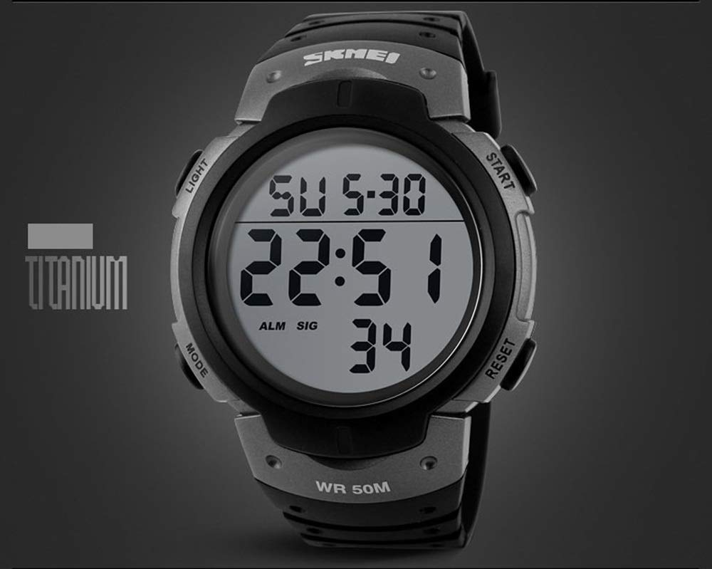 Fashion Waterproof Watch Outdoor Sports Electronic Watch Student Sports Watch (color   Titanium)