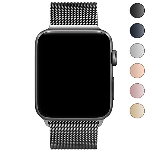 CTYBB for Apple Watch Band 38mm, Milanese Loop Stainless Steel Magnetic Lock for Apple Watch Series 3, Series 2, Series 1, Sport & Edition, Space Gray