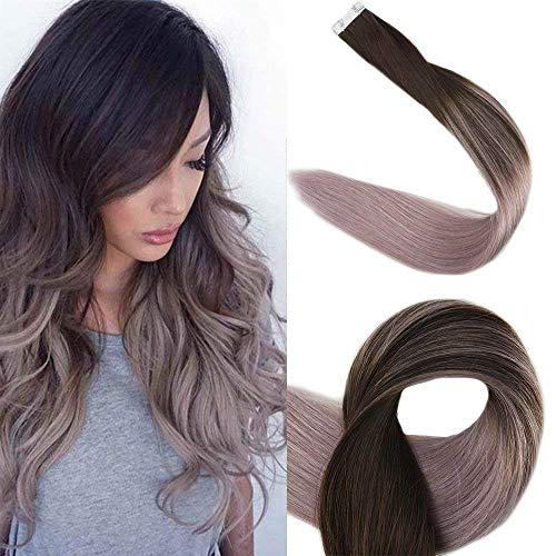 Full Shine Tape Haarverlängerungen 20 Stück 50 Gramm Pro Packung 2 Dunkelbraun Verblassen Zu Grau Ombre Tape Extensions Haarverlängerung Für Kurze