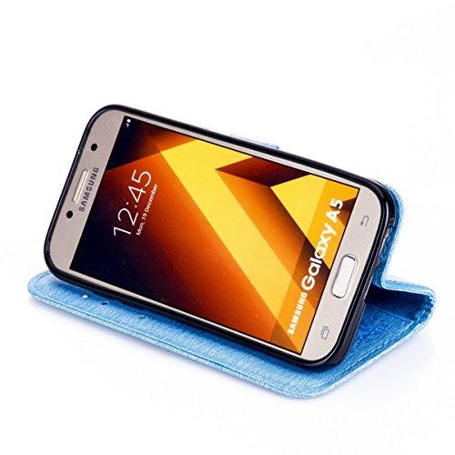 Funda Galaxy A5(2017), Funda de brillo Galaxy A5(2017), Lifetrut Sólido Shiny Sparkle Libro de Estilo de Cuero con Ranura para Tarjetas de Cierre Magnético Soporte Funda de Teléfono de la Función con  E201-Azul