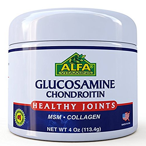 ALFA VITAMINS Glucosamine & Chondroitin 4 Oz Cream With MSM & Collagen | Natural Cream For Men & Women | Soothe Joint, Bone & Muscle Pains, Improve Mobility, Relieve Discomfort & Speed Up (Msm Joint Cream)