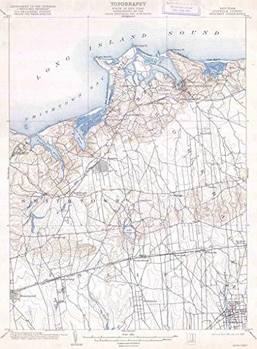 Long Island New York Antique - Art Oyster U.S.G.S. Map of Long Island New York Islip, Brookhaven, Smithtown, 1904-22
