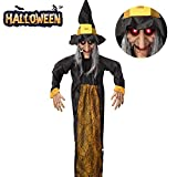 VATOS 57'/145cm Halloween Hanging Decoration Scary Talking Witch with Glowing Eyes, Creepy Animated Halloween Witch Deco Prop