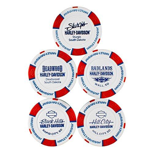 Harley-Davidson 76th Rally Pack of 5 Poker Chips (Sturgis, Black Hills, Deadwood, Badlands, Hill City)