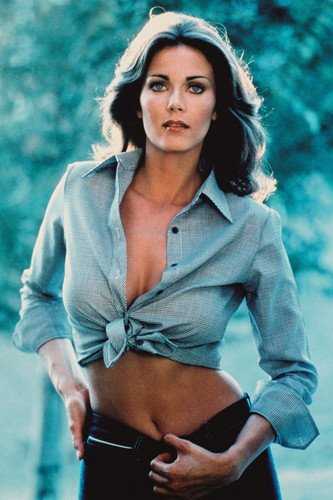Lynda Carter iconic 1974 sexy pin-up in tied blue shirt with bare midriff 24X36 Poster from Silverscreen