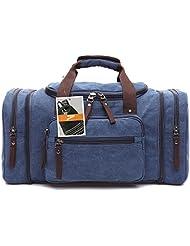 Leaper Extra Large Canvas Travel Tote Duffel Gym Bag Weekender Shoulder Handbag (Dark Blue)