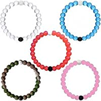 Perfect Balance Transparent Silicone Beaded Bracelet Medium (Set of 2)- Purple and Green (Large, Blue+White+Pink+Red+Camo)
