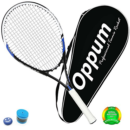 OPPUM Adult Full-Carbon/Aluminum-Carbon Tennis Racket Optional, Full-Carbon Fiber Tennis Racquet Super Light Weight Shock-proof and Throw-proof, Include Tennis Bag Tennis Overgrip Vibration Dampener