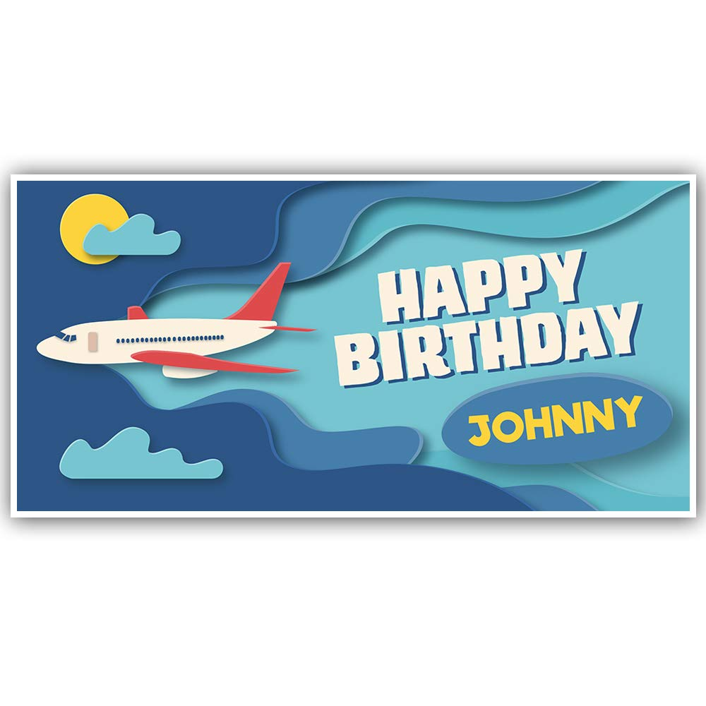Airplane Paper Cutout Happy Birthday Personalized Banner Party Decoration