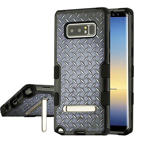MyBat Cell Phone Case for Samsung Galaxy Note 8 - Aluminum Treads/Black with Metal Stand Image from MYBAT