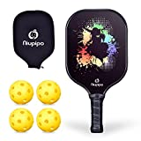 Pickleball Paddle - Graphite Pickleball Paddle With Protective Cover & 4 Pickleballs Set, 8oz Graphite Pickleball Racquet Honeycomb Composite Core Balanced Pickleball Rackets 26 Holes Pickleball Set