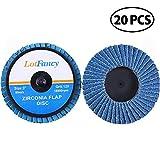 LotFancy Roloc Flap Disc, 3 Inch 40 60 80 120 Grit Roll Lock Sanding Disc, Pack of 20, High Density Zirconia Alumina