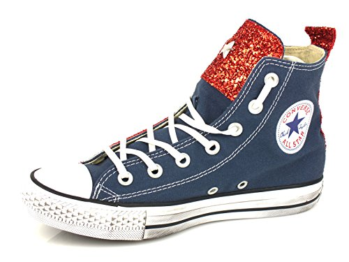 Hi All textile S 1c15h008 Canvas Star Ltd red 38 Glitter Converse amp;b Silver Navy Tg xwZWnF1pF