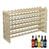 F2C Wood 72-Bottle 6-Row Stackable Modular Wine Rack Wood Wine Cabinet Stand Folding Wine Storage Organizer Display Shelf Wine Bottle Holder Kitchen Decor Classic Style, Wobble Free