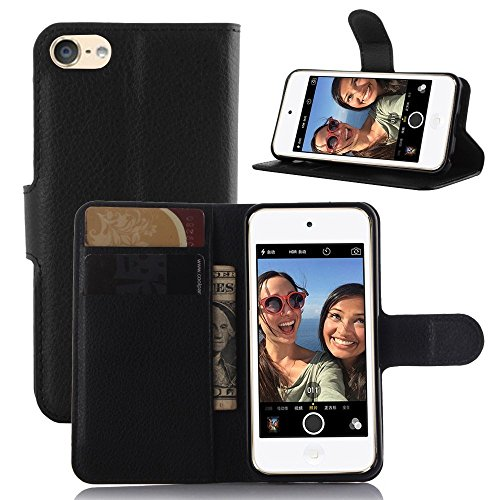 iPod Touch 5 Case, iPod Touch 6 Case, [LuckQR] Premium Luxury Leather Wallet Case, Folding Kickstand, Folio Design with ID Card & Cash Slots, Fit For Apple iPod Touch 5th ()