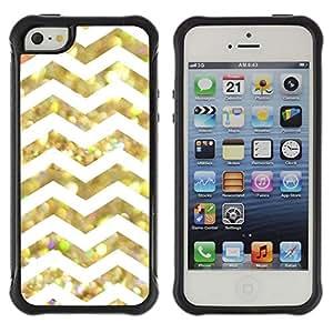 "Pulsar iFace Series Tpu silicona Carcasa Funda Case para Apple iPhone SE / iPhone 5 / iPhone 5S , White Glitter Chevron Pattern Brillante"""