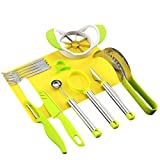 NewFerU Kitchen Fruit Carving Tool Set Garnishing Melon Baller Scoop Spoon Knife Shapes