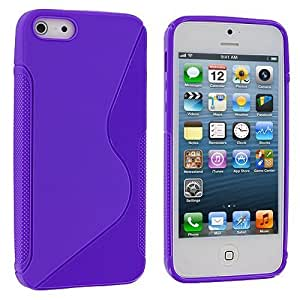 Accessory Planet(TM) Purple S-Line Solid TPU Rubber Skin Case Cover Accessory for Apple iPhone 5 / 5S