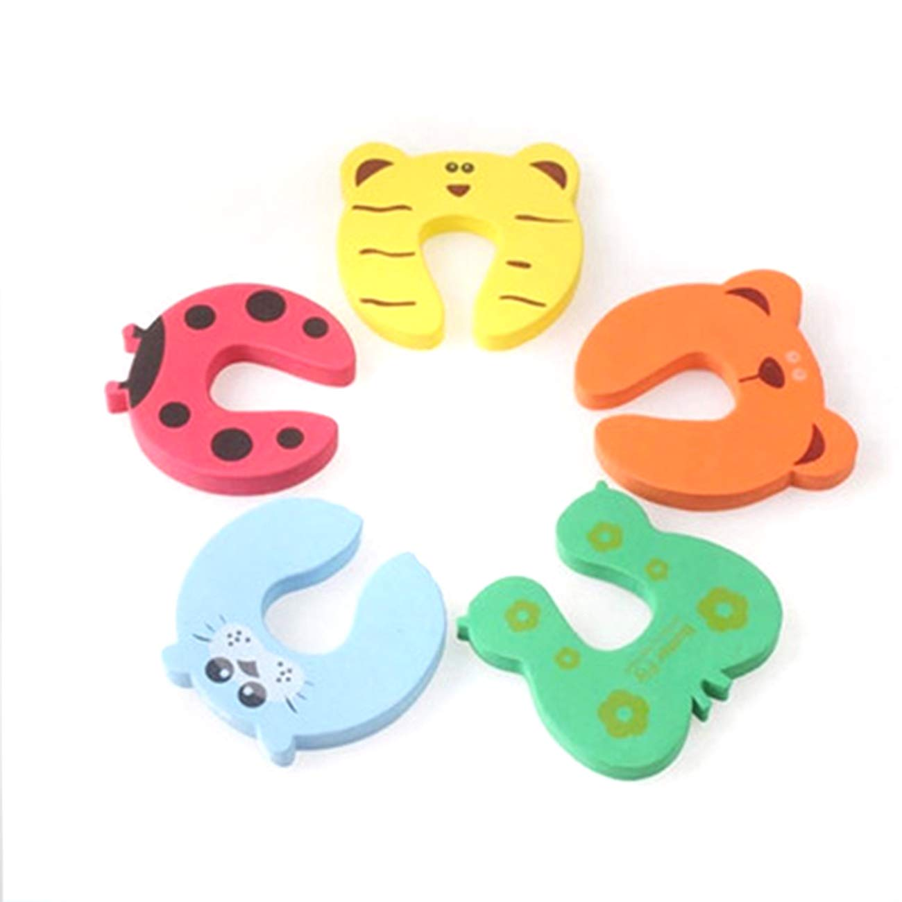 uxcell 5 Pcs Children Safety Finger Pinch Cartoon Animal Foam Door Stopper Cushion