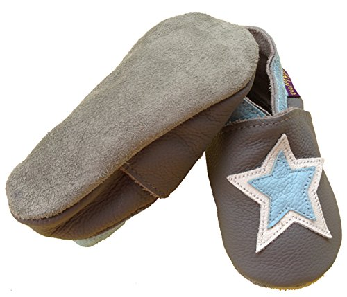 coolMYP©chromfreie Krabbelschuhe Baby Schuhe Lederschuhe ohne Chrom Lernlaufschuhe mit verschiedenen Motiven grau-Stern