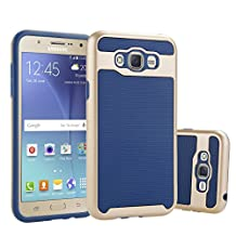J7 Case, Galaxy J7 Case, NOKEA [Shock Absorption] [Heavy Duty] Hybrid Armor Defender Full Body Protective Case Cover for Samsung Galaxy J7 (2015) (Navy)