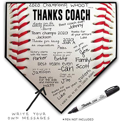 (ChalkTalkSPORTS Baseball Stiches Home Plate Plaque | Thanks Coach | Ready to Autograph)