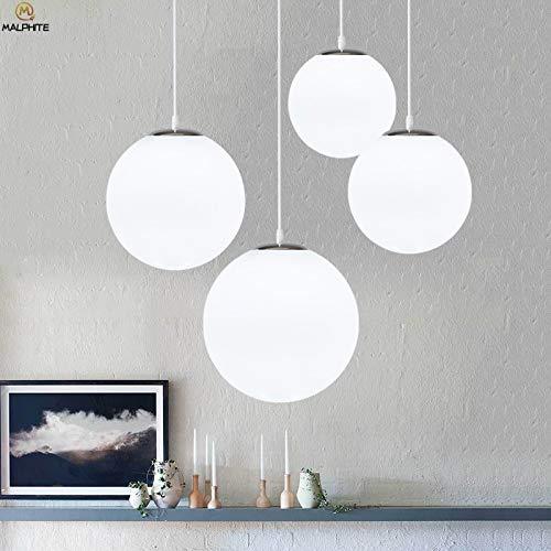 Goonpetchkrai.rapat7498 Glass Ball Pendant Lights Nordic White Glass Ball Pendant Lights Modern LED Living Room Hanglamp Pendant Lamp Restaurant Bar Aisle Bubble Ball Luminaire ()
