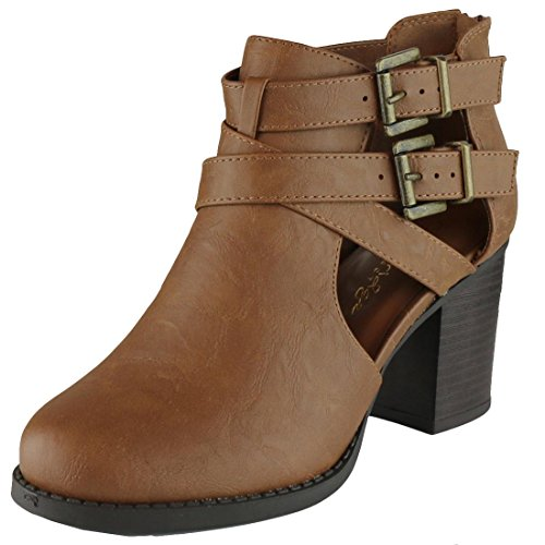Cambridge Select Women's Side Cut Out Buckle Chunky Stacked Heel Ankle Bootie (7.5 B(M) US, Tan PU) Womens Chunky Heel Booties