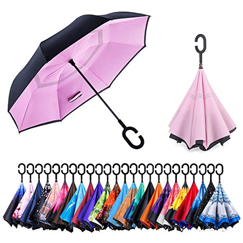 Newsight Reverse/Inverted Double-Layer Waterproof Straight Umbrella, Self-Standing & C-Shape Handle & Carrying Bag for Free Hands, Inside-Out Folding for Car Use (Pink)