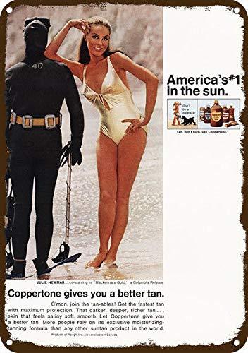 "Price comparison product image Yilooom 1969 Coppertone Vintage Look Replica Metal Sign 7"" x 10""- Julie Newmar Catwoman - Batman"
