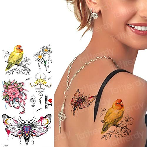 tzxdbh Chica del Tatuaje Tatuaje Temporal pájaros Flores Falso ...