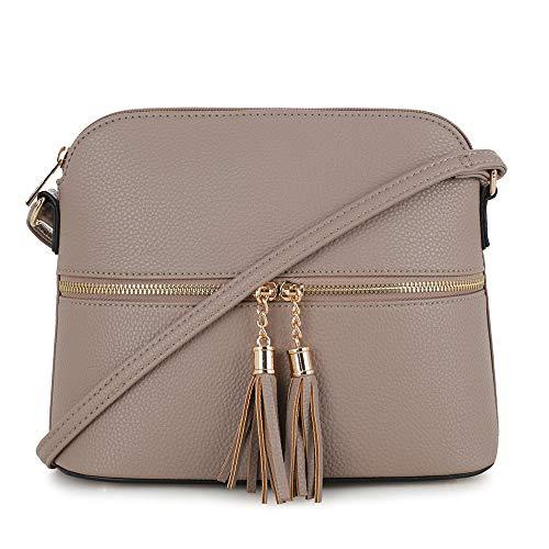 SG SUGU Lightweight Medium Dome Crossbody Bag with Tassel | Zipper Pocket | Adjustable Strap (Taupe)
