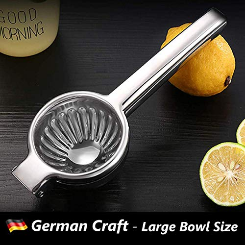 Lemon Juicer Squeezer Bowl, Lime Squeezer Stainless Steel with Premium Quality, Heavy Duty Solid Metal Hand Lime Juicer, Large Manual Lemon Squeezer Press with Non-Slip Handle, Citrus Lemon Squeezer