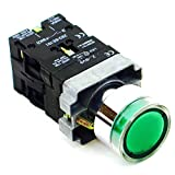 PBC-P22XTMO2-FIG-220V DIRECT REPLACEMENT FITS TELEMECANIQUE XB2-BW3365 22MM PUSH BUTTON GREEN MOMENTARY METAL ILLUMINATED 220V AC .PUSH TO TEST FLUSH M. INCLUDED 1NO/1NC CONTACT BLOCKS
