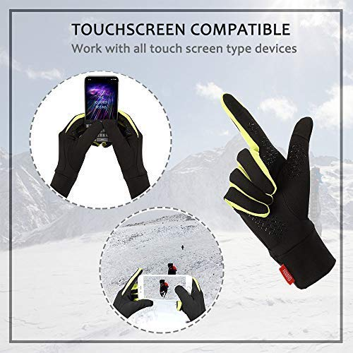 Aegend Running Sports Gloves Touch Screen Winter Lightweight Warm Gloves Mittens Liners, Black&Green, Small