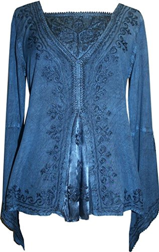 Agan Traders 01 B Womens Bohemian Medieval Bell Sleeve Gypsy Blouse Top