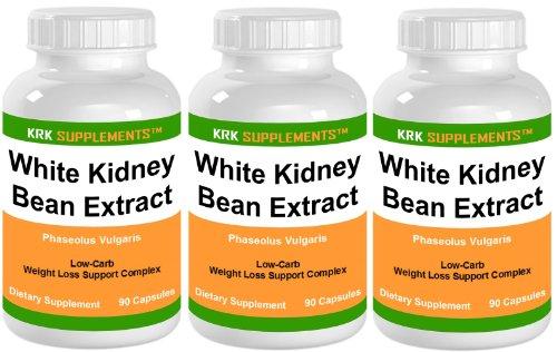 3 Bouteilles blanc Haricot Extract 500mg 270 Nombre de Capsules KRK suppléments