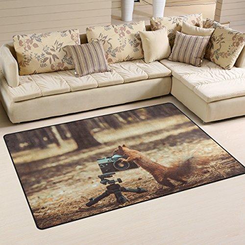 sunlome ardilla roja con cámara de película patrón área alfombra antideslizante de interior al aire última intervensión...