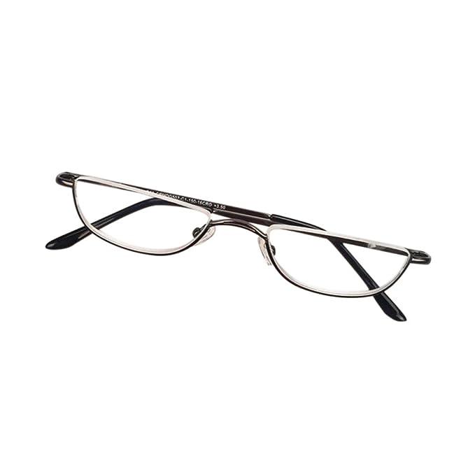 5e9ef77cf6 Inlefen Unisex Half Moon Half Frame Reading Glasses Metal Material frame  Spring Hinges Eyewea (black +1.0)  Amazon.co.uk  Clothing