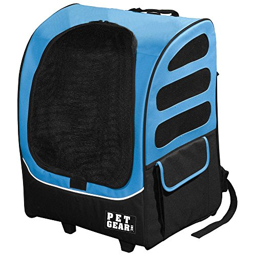 Pet Gear I-GO2 Roller Backpack, Travel Carrier, Car Seat for Cats/Dogs, Mesh Ventilation, Included Tether, Telescoping Handle, Storage Pouch (Pet Gear Dog Cat)
