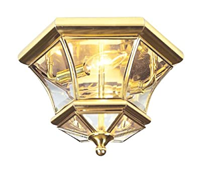 Livex Lighting 7052-02 Monterey 2 Light Outdoor/Indoor Polished Brass Finish Solid Brass Flush Mount with Clear Beveled Glass
