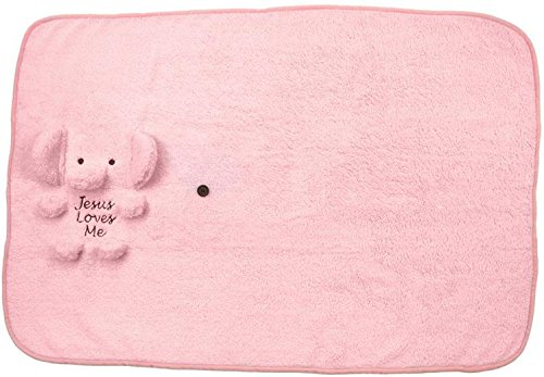Brownlow Gifts Baby Blankie, Pink Elephant with Jesus Loves Me
