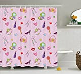 Teen Girls Decor Shower Curtain Set By Ambesonne, Cute Girlish Illustration With Fashion Acessories And Makeup Lollipop Flower, Bathroom Accessories, 84 Inches Extralong
