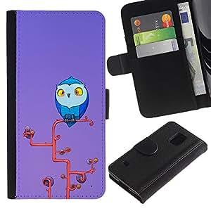 Be Good Phone Accessory // Caso del tirón Billetera de Cuero Titular de la tarjeta Carcasa Funda de Protección para Samsung Galaxy S5 V SM-G900 // Cute Owl