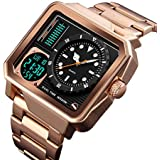 Men's Digital Sports Watch, LED Square Large Face Analog Quartz Wrist Watch with Multi-Time Zone Waterproof Stopwatch (Rose Gold)