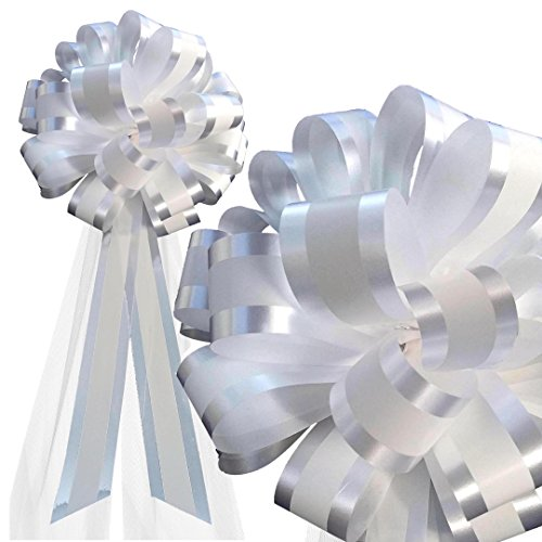 White Wedding Pew Bows - White Striped Wedding Pull Bows with Tulle Tails - 8
